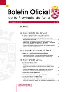 Boletín Oficial de la Provincia del lunes, 17 de junio de 2013