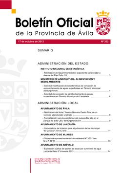 Boletín Oficial de la Provincia del jueves, 17 de octubre de 2013