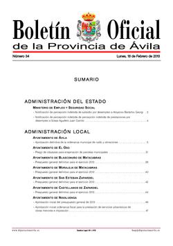 Boletín Oficial de la Provincia del lunes, 18 de febrero de 2013