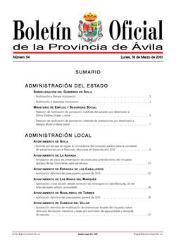 Boletín Oficial de la Provincia del lunes, 18 de marzo de 2013