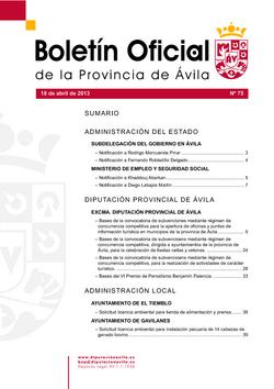 Boletín Oficial de la Provincia del jueves, 18 de abril de 2013