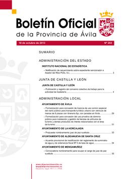 Boletín Oficial de la Provincia del viernes, 18 de octubre de 2013