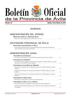 Boletín Oficial de la Provincia del martes, 19 de febrero de 2013