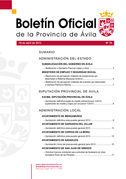 Boletín Oficial de la Provincia del viernes, 19 de abril de 2013