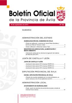 Boletín Oficial de la Provincia del jueves, 19 de septiembre de 2013