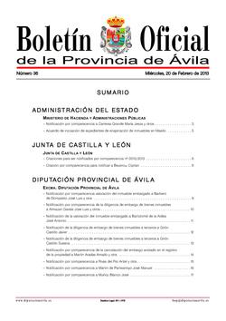 Boletín Oficial de la Provincia del miércoles, 20 de febrero de 2013