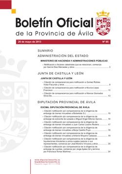 Boletín Oficial de la Provincia del lunes, 20 de mayo de 2013