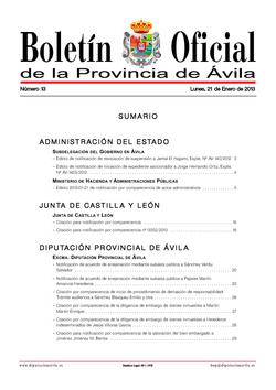Boletín Oficial de la Provincia del lunes, 21 de enero de 2013