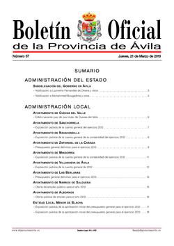 Boletín Oficial de la Provincia del jueves, 21 de marzo de 2013