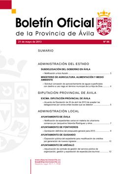 Boletín Oficial de la Provincia del martes, 21 de mayo de 2013