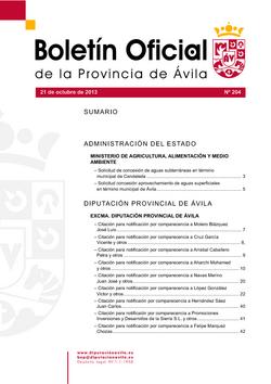 Boletín Oficial de la Provincia del lunes, 21 de octubre de 2013