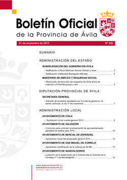 Boletín Oficial de la Provincia del jueves, 21 de noviembre de 2013