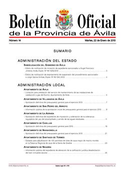 Boletín Oficial de la Provincia del martes, 22 de enero de 2013