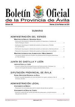 Boletín Oficial de la Provincia del viernes, 22 de febrero de 2013