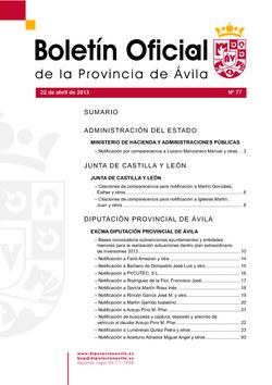 Boletín Oficial de la Provincia del lunes, 22 de abril de 2013