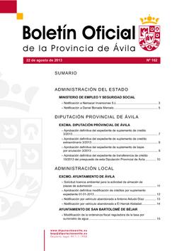 Boletín Oficial de la Provincia del jueves, 22 de agosto de 2013