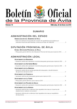Boletín Oficial de la Provincia del miércoles, 23 de enero de 2013