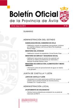 Boletín Oficial de la Provincia del jueves, 23 de mayo de 2013