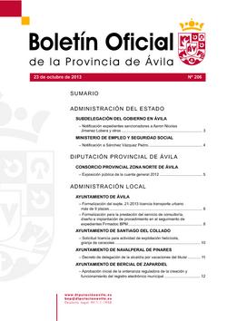 Boletín Oficial de la Provincia del miércoles, 23 de octubre de 2013
