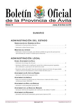 Boletín Oficial de la Provincia del jueves, 24 de enero de 2013