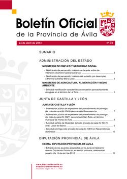 Boletín Oficial de la Provincia del miércoles, 24 de abril de 2013
