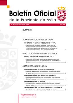 Boletín Oficial de la Provincia del martes, 24 de septiembre de 2013