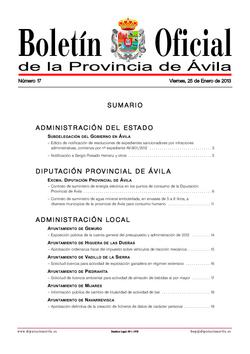 Boletín Oficial de la Provincia del viernes, 25 de enero de 2013
