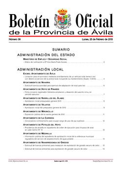 Boletín Oficial de la Provincia del lunes, 25 de febrero de 2013