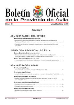 Boletín Oficial de la Provincia del lunes, 25 de marzo de 2013
