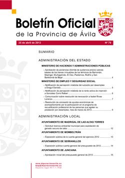 Boletín Oficial de la Provincia del jueves, 25 de abril de 2013
