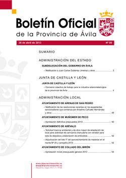 Boletín Oficial de la Provincia del viernes, 26 de abril de 2013
