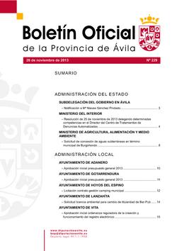 Boletín Oficial de la Provincia del martes, 26 de noviembre de 2013