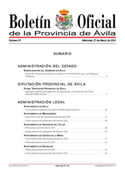 Boletín Oficial de la Provincia del miércoles, 27 de marzo de 2013