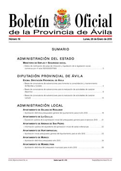Boletín Oficial de la Provincia del lunes, 28 de enero de 2013