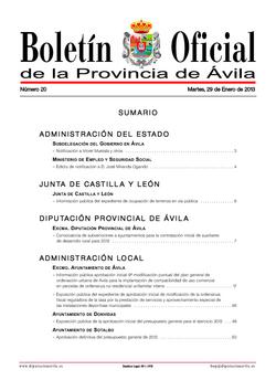 Boletín Oficial de la Provincia del martes, 29 de enero de 2013