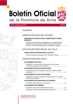 Boletín Oficial de la Provincia del martes, 29 de octubre de 2013