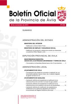 Boletín Oficial de la Provincia del viernes, 29 de noviembre de 2013