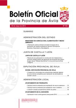 Boletín Oficial de la Provincia del jueves, 30 de mayo de 2013