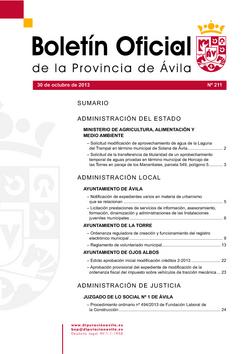 Boletín Oficial de la Provincia del miércoles, 30 de octubre de 2013