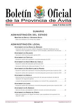 Boletín Oficial de la Provincia del jueves, 31 de enero de 2013