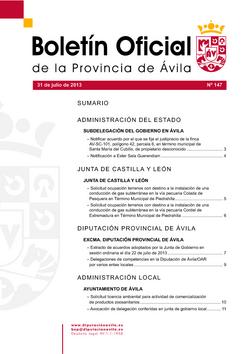 Boletín Oficial de la Provincia del miércoles, 31 de julio de 2013