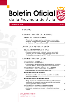 Boletín Oficial de la Provincia del martes, 1 de abril de 2014