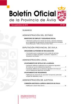 Boletín Oficial de la Provincia del lunes, 1 de septiembre de 2014