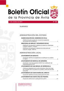 Boletín Oficial de la Provincia del miércoles, 1 de octubre de 2014