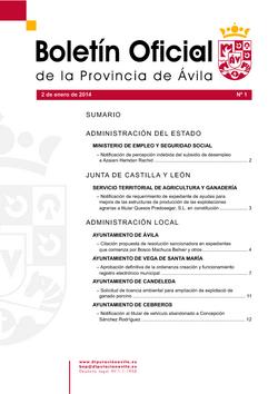 Boletín Oficial de la Provincia del jueves, 2 de enero de 2014