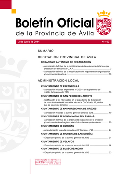 Boletín Oficial de la Provincia del lunes, 2 de junio de 2014