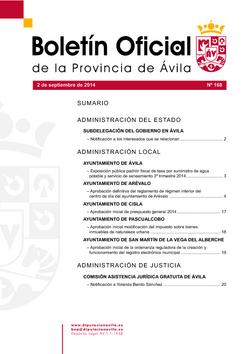 Boletín Oficial de la Provincia del martes, 2 de septiembre de 2014