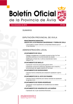Boletín Oficial de la Provincia del martes, 2 de diciembre de 2014