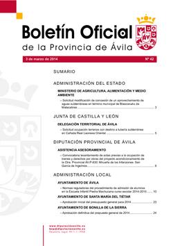Boletín Oficial de la Provincia del lunes, 3 de marzo de 2014