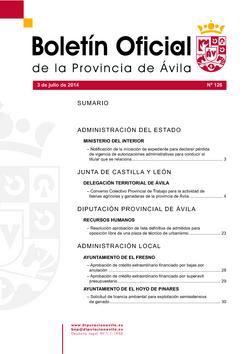 Boletín Oficial de la Provincia del jueves, 3 de julio de 2014
